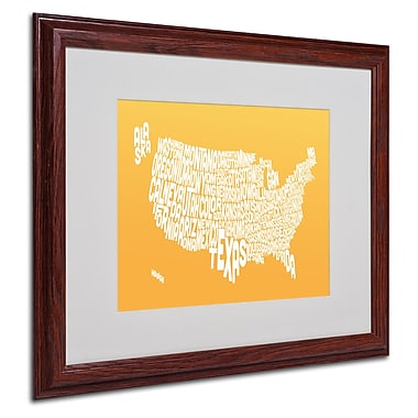 Michael Tompsett 'SUNSET-USA States Text Map' Matted Framed - 16x20 Inches - Wood Frame