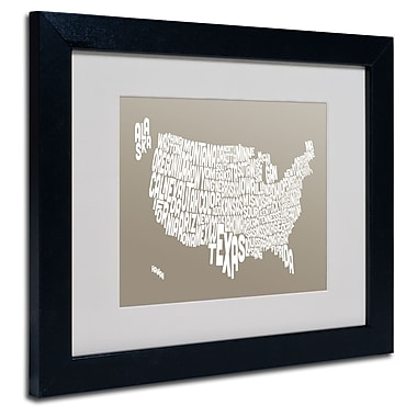 Trademark Fine Art Michael Tompsett 'TAUPE-USA States Text Map' Matted Black Frame 11x14 Inches