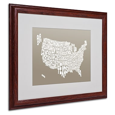 Michael Tompsett 'TAUPE-USA States Text Map' Matted Framed - 16x20 Inches - Wood Frame