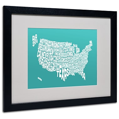 Trademark Fine Art Michael Tompsett 'TURQOISE-USA States Text Map' Black Frame 16x20 Inches