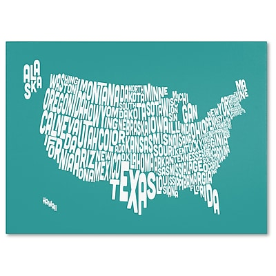 Trademark Fine Art Michael Tompsett 'TURQOISE-USA States Text Map' Canvas Art 22x32 Inches