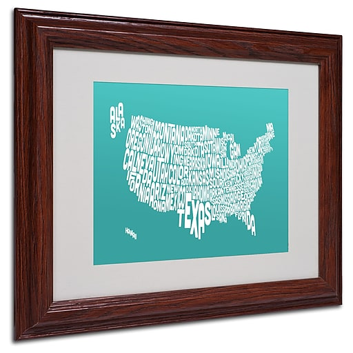 Michael Tompsett 'TURQOISE-USA States Text Map' Framed - 11x14 Inches - Wood Frame