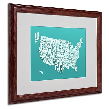 Michael Tompsett 'TURQOISE-USA States Text Map' Framed - 16x20 Inches - Wood Frame