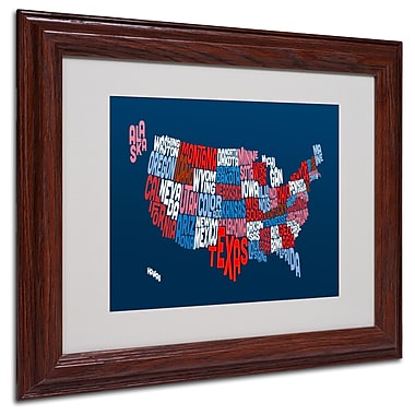 Michael Tompsett 'USA States Txt Map 2' Matted Framed Art - 11x14 Inches - Wood Frame