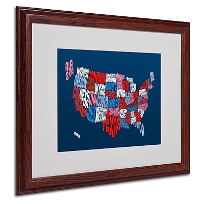 Michael Tompsett 'USA States Txt Map 2' Matted Framed Art - 16x20 Inches - Wood Frame