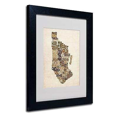 Trademark Fine Art Michael Tompsett 'Manhattan Text Map' Matted Art Black Frame 11x14 Inches