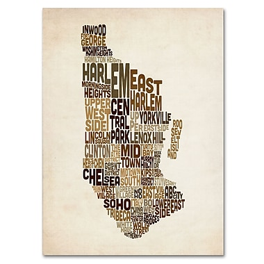 Trademark Fine Art Michael Tompsett 'Manhattan Text Map' Canvas Art 14x19 Inches