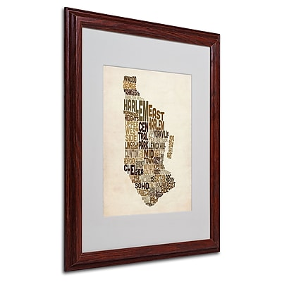 Michael Tompsett 'Manhattan Text Map' Matted Framed Art - 16x20 Inches - Wood Frame