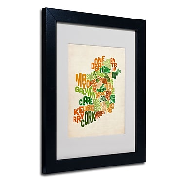 Trademark Fine Art Michael Tompsett 'Ireland Text Map' Matted Art Black Frame 11x14 Inches