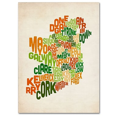 Trademark Fine Art Michael Tompsett 'Ireland Text Map' Canvas Art 16x24 Inches