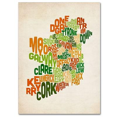 Trademark Fine Art Michael Tompsett 'Ireland Text Map' Canvas Art 16x24 Inches