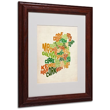 Michael Tompsett 'Ireland Text Map' Matted Framed Art - 11x14 Inches - Wood Frame