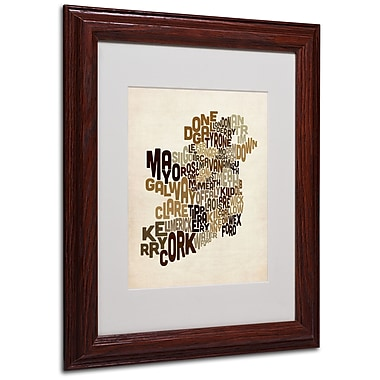 Michael Tompsett 'Ireland Text Map 2' Matted Framed Art - 11x14 Inches - Wood Frame
