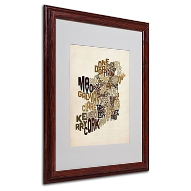 Michael Tompsett 'Ireland Text Map 2' Matted Framed Art - 16x20 Inches - Wood Frame