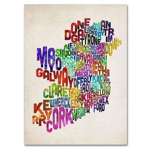 Trademark Fine Art Michael Tompsett 'Ireland Text Map 3' Canvas Art 14x19 Inches