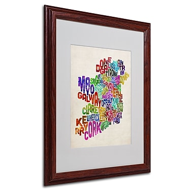 Michael Tompsett 'Ireland Text Map 3' Matted Framed Art - 16x20 Inches - Wood Frame