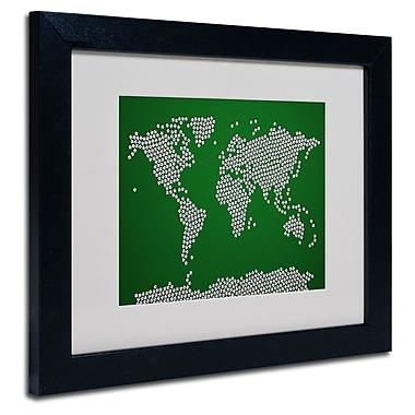 Trademark Fine Art Michael Tompsett 'Soccer Balls World Map' Matted Art Black Frame 11x14 Inches