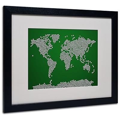 Trademark Fine Art Michael Tompsett 'Soccer Balls World Map' Matted Art Black Frame 16x20 Inches