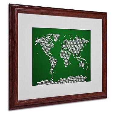 Michael Tompsett 'Soccer Balls World Map' Matted Framed Art - 16x20 Inches - Wood Frame
