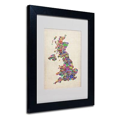 Trademark Fine Art Michael Tompsett 'UK Cities Text Map' Matted Art Black Frame 11x14 Inches