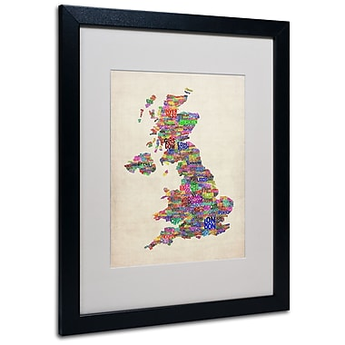 Trademark Fine Art Michael Tompsett 'UK Cities Text Map' Matted Art Black Frame 16x20 Inches