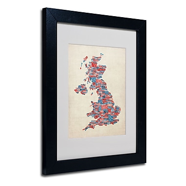 Trademark Fine Art Michael Tompsett 'UK Cities Text Map 2' Matted Art Black Frame 11x14 Inches