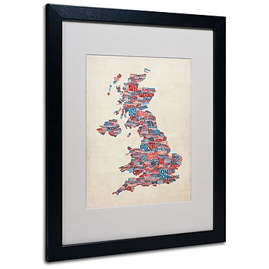 Trademark Fine Art Michael Tompsett 'UK Cities Text Map 2' Matted Art Black Frame 16x20 Inches