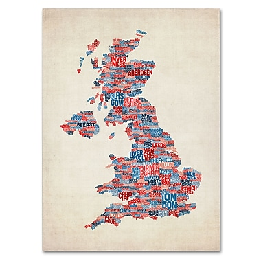 Trademark Fine Art Michael Tompsett 'UK Cities Text Map 2' Canvas Art 14x19 Inches