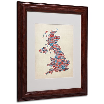 Michael Tompsett 'UK Cities Text Map 2' Matted Framed Art - 11x14 Inches - Wood Frame