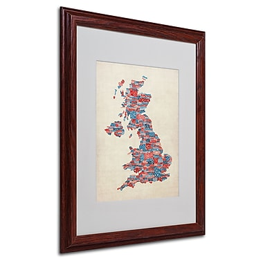 Michael Tompsett 'UK Cities Text Map 2' Matted Framed Art - 16x20 Inches - Wood Frame