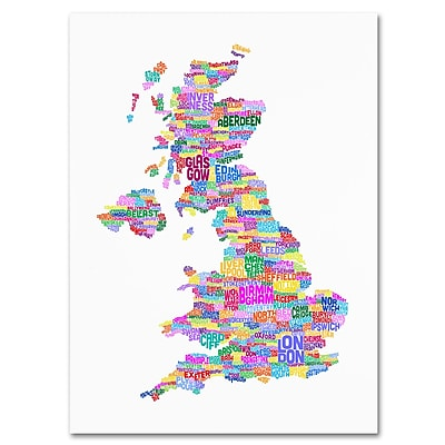 Trademark Fine Art Michael Tompsett 'UK Cities Text Map 3' Canvas Art 30x47 Inches