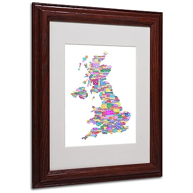 Michael Tompsett 'UK Cities Text Map 3' Matted Framed Art - 11x14 Inches - Wood Frame