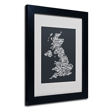 Trademark Fine Art Michael Tompsett 'UK Cities Text Map 4' Matted Art Black Frame 11x14 Inches