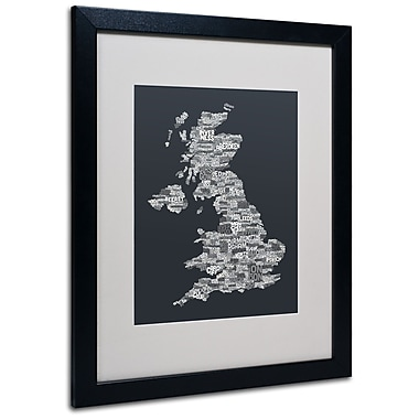 Trademark Fine Art Michael Tompsett 'UK Cities Text Map 4' Matted Art Black Frame 16x20 Inches