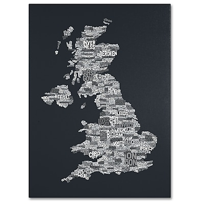 Trademark Fine Art Michael Tompsett 'UK Cities Text Map 4' Canvas Art 22x32 Inches