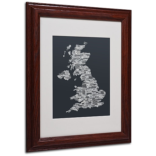 Michael Tompsett 'UK Cities Text Map 4' Matted Framed Art - 11x14 Inches - Wood Frame