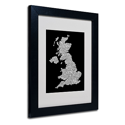 Trademark Fine Art Michael Tompsett 'UK Cities Text Map 6' Matted Art Black Frame 11x14 Inches