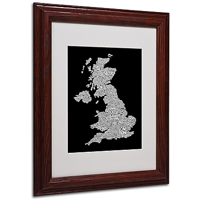 Michael Tompsett 'UK Cities Text Map 6' Matted Framed Art - 11x14 Inches - Wood Frame