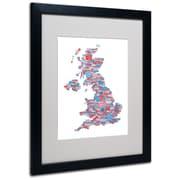 Trademark Fine Art Michael Tompsett 'UK Cities Text Map 7' Matted Art Black Frame 16x20 Inches