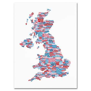Trademark Fine Art Michael Tompsett 'UK Cities Text Map 7' Canvas Art 16x24 Inches