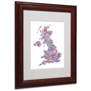 Michael Tompsett 'UK Cities Text Map 7' Matted Framed Art - 11x14 Inches - Wood Frame