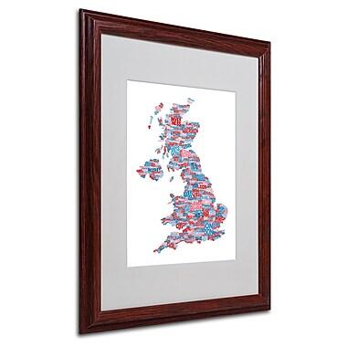 Michael Tompsett 'UK Cities Text Map 7' Matted Framed Art - 16x20 Inches - Wood Frame