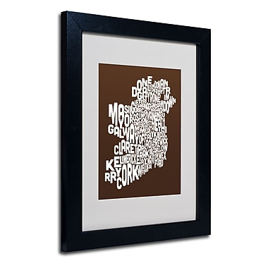 Trademark Fine Art Michael Tompsett 'CHOCOLATE-Ireland Text Map' Matted Black Frame 11x14 Inches