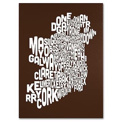 Trademark Fine Art Michael Tompsett 'CHOCOLATE-Ireland Text Map' Canvas Art 24x32 Inches