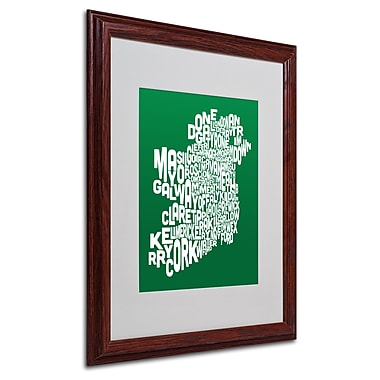 Michael Tompsett 'FOREST-Ireland Text Map' Matted Framed Art - 16x20 Inches - Wood Frame