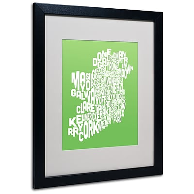 Trademark Fine Art Michael Tompsett 'LIME-Ireland Text Map' Matted Art Black Frame 16x20 Inches