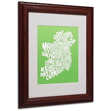 Michael Tompsett 'LIME-Ireland Text Map' Matted Framed Art - 11x14 Inches - Wood Frame