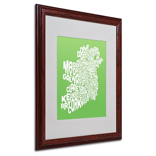 Michael Tompsett 'LIME-Ireland Text Map' Matted Framed Art - 16x20 Inches - Wood Frame