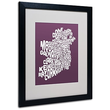 Trademark Fine Art Michael Tompsett 'MULBERRY-Ireland Text Map' Matted Black Frame 16x20 Inches