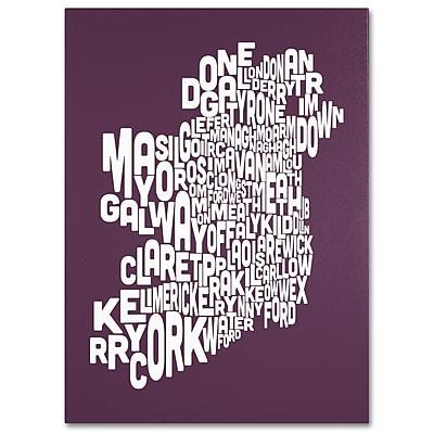 Trademark Fine Art Michael Tompsett 'MULBERRY-Ireland Text Map' Canvas Art 35x47 Inches